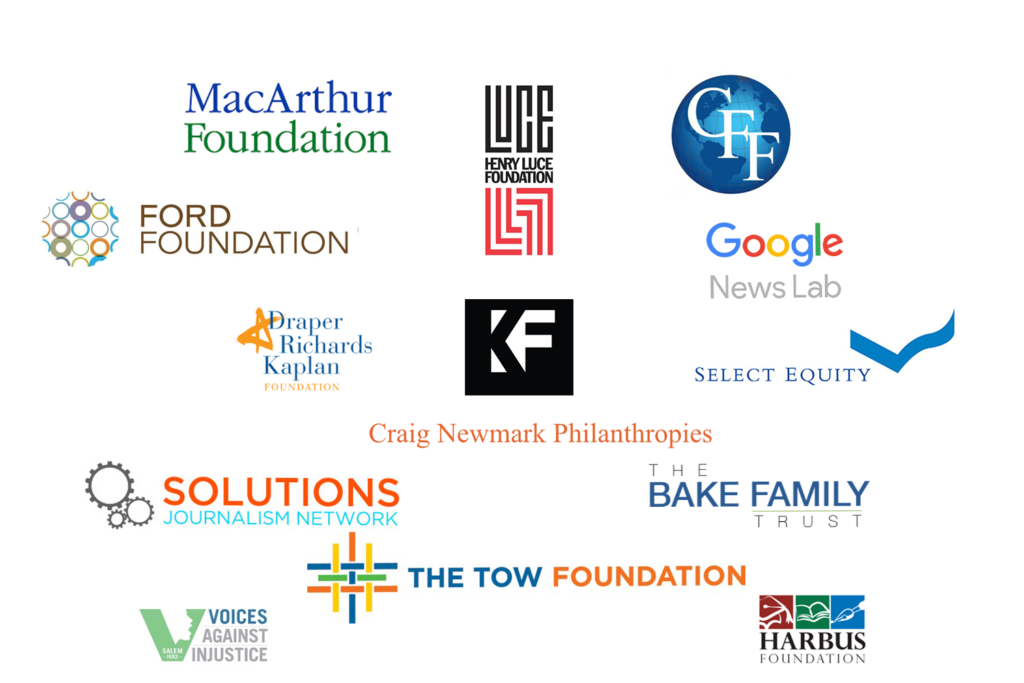 Logos for the GroundTruth Project's funding partners
