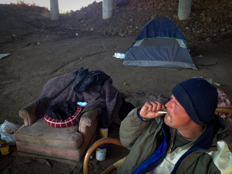 Steve, one of Topeka's many homeless, is originally from Monterey, CA, but has been living with half a dozen friends underneath the Kansas Bridge for the past six months. (Nichole Sobecki/GlobalPost)