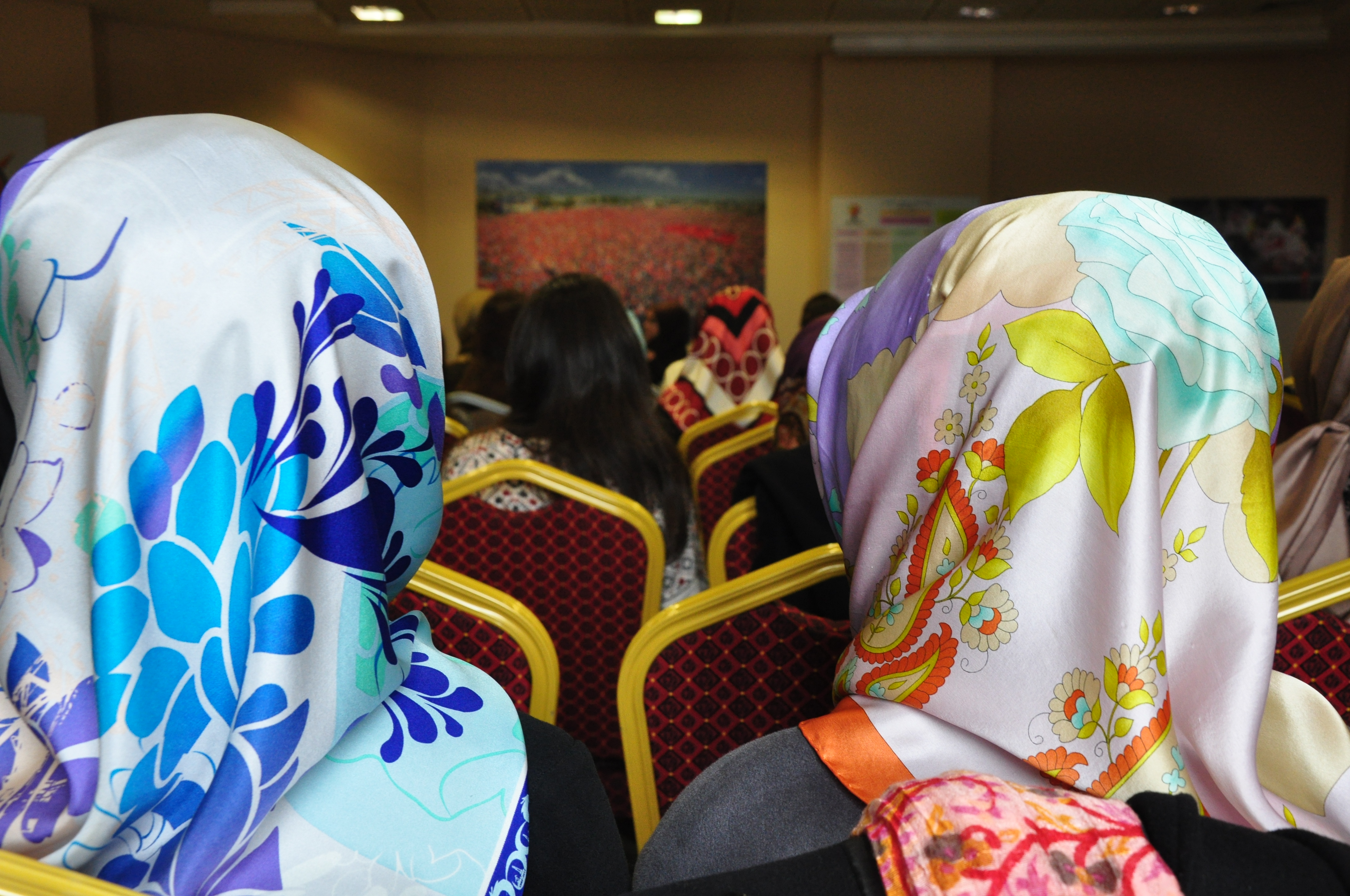 Women attend the Justice and Development party's (AKP) Ladies Leadership Academy at the party's Istanbul headquarters; February, 2015. Bohn/GroundTruth