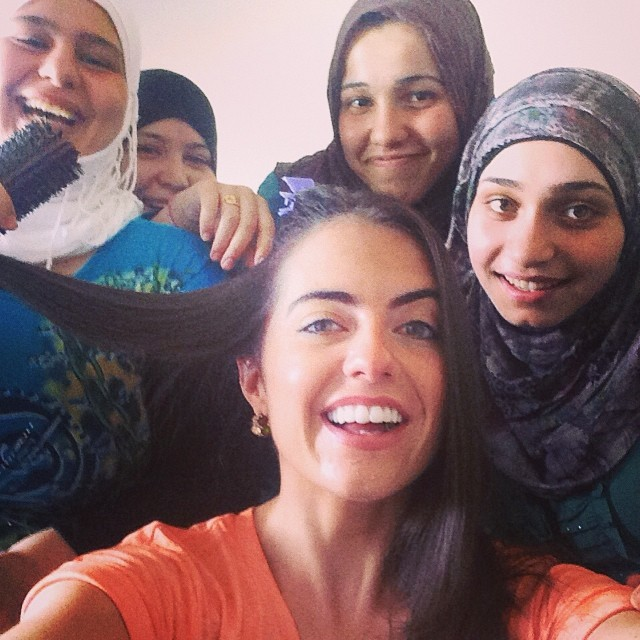 Selfie taken last summer in southern Lebanon while reporting a story on Syrian refugees. These women are training to become hairdressers as a means to support themselves.