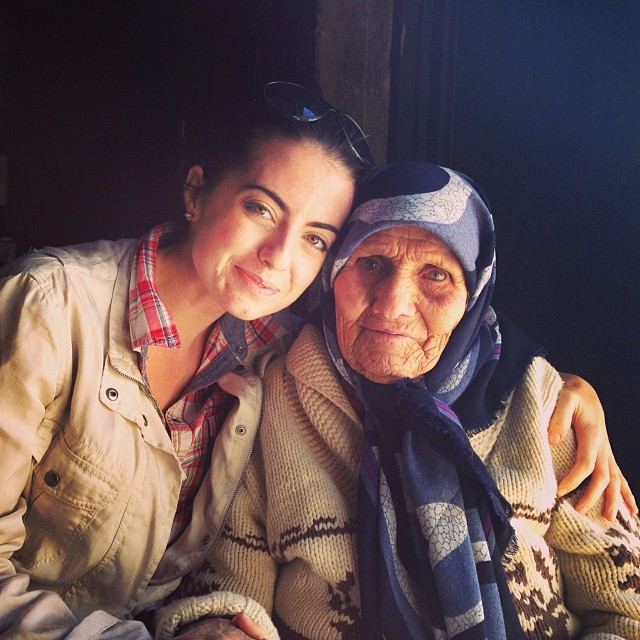 With 103-year-old Syrian refugee Khaldiye, who now lives in Lebanon.