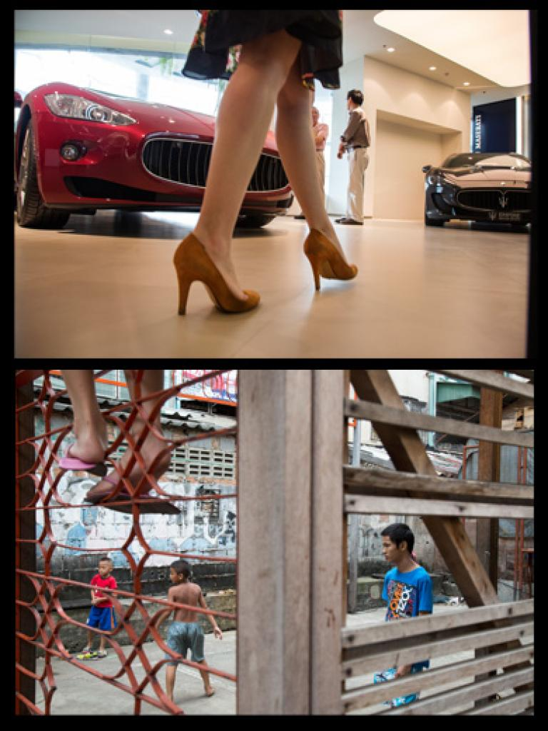 Above: The Maserati store in the upscale Siam Paragon Mall in Bangkok, Thailand. Below: Scenes from the slum of Klong Toei in Bangkok, Thailand.(Ed Kashi/VII/GlobalPost)