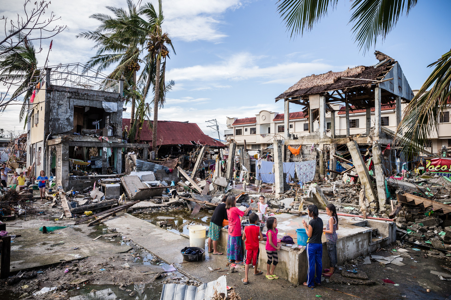 The town of Basey destroyed by Typhoon Haiyan. Samar, Philippines.