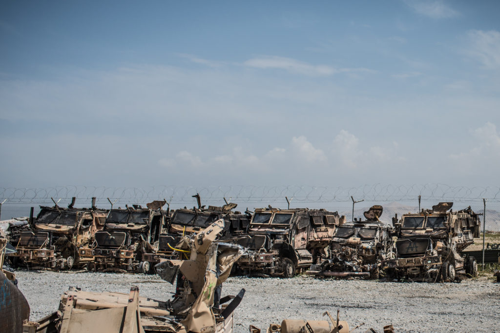Vehicles destroyed by IEDs are not returned to the US - they are stripped for usable parts and scrapped. (Photo by Ben Brody)