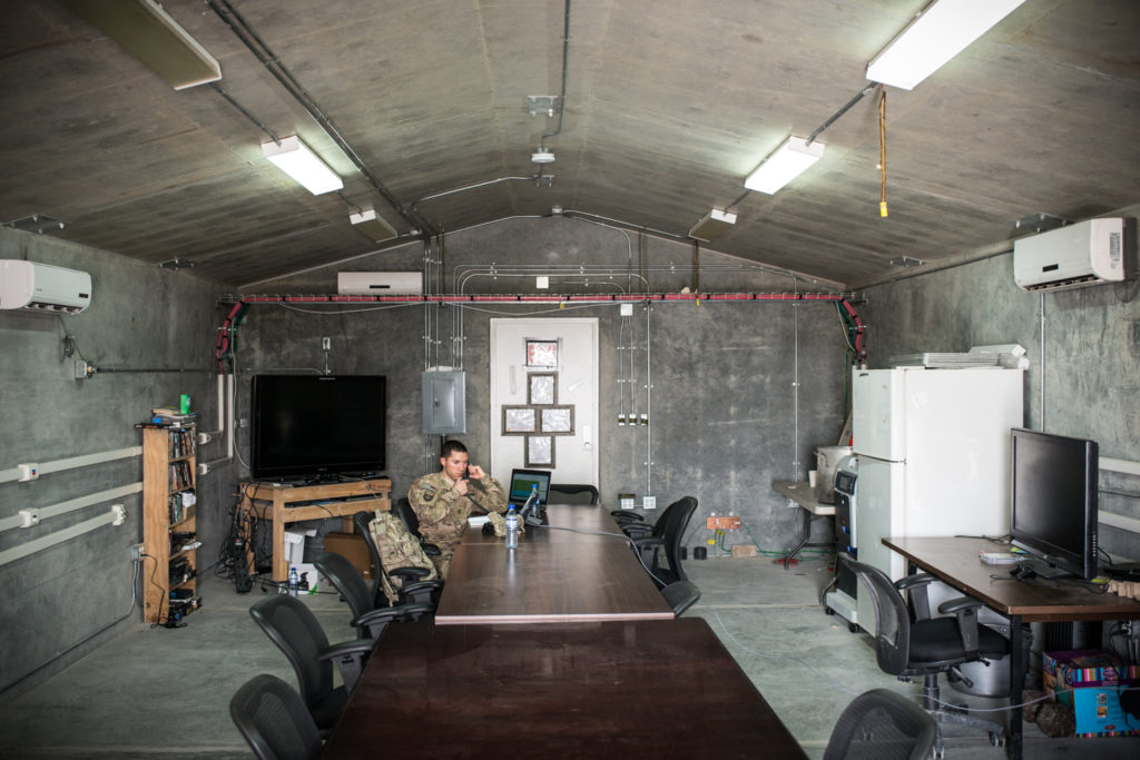 A bunker-like meeting room at Bagram. All the army's plywood buildings are being torn down - only buildings that can withstand rocket attacks will remain on US bases after 2014. (Photo by Ben Brody)