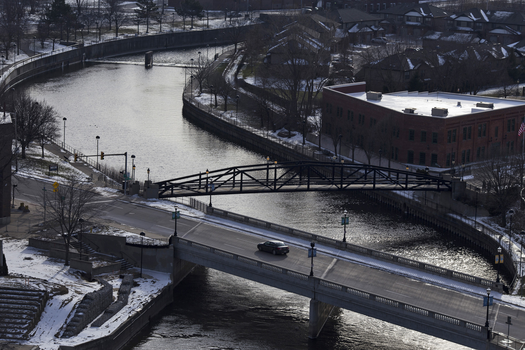 The Flint River is seen atop the North Bank center in downtown Flint. (Brittany Greeson/GroundTruth)