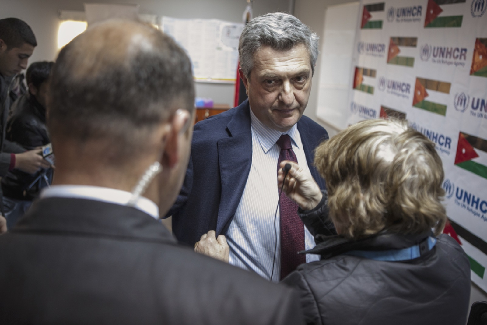 Filippo Grandi, the new United Nations High Commissioner for Refugees, speaks to his staff during a press conference at Zaatari refugee camp in Jordan on January 18, 2016. (Christopher Lee/GroundTruth)