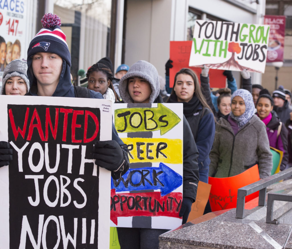 youth jobs protest boston