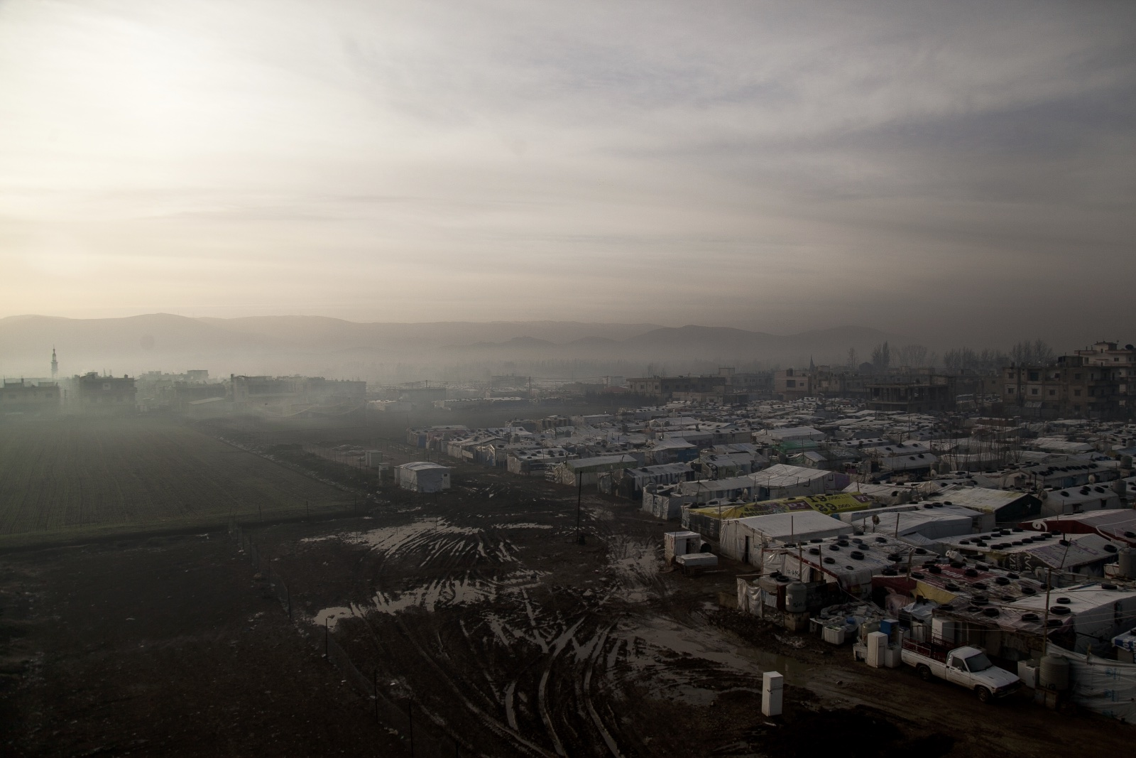 A view of an improvised tented settlement in the Bekaa Valley. (Christopher Lee/GroundTruth)
