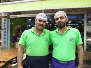 Ahmed (left) and Rashed (right) have worked together for 14 years. Like they did in Aleppo, the men run the show at Salloura in Istanbul. (Photo by Dalia Mortada/GroundTruth)