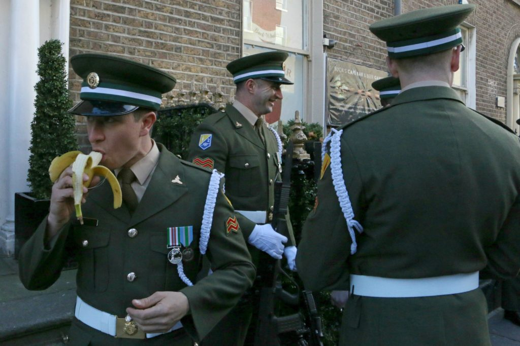 Easter Sunday, 2016, Dublin. The Irish Defence Forces await the start of the parade marking the 100th anniversary of the 1916 Easter Rising, an armed rebellion against British rule. (Danielle Houghton/GroundTruth)