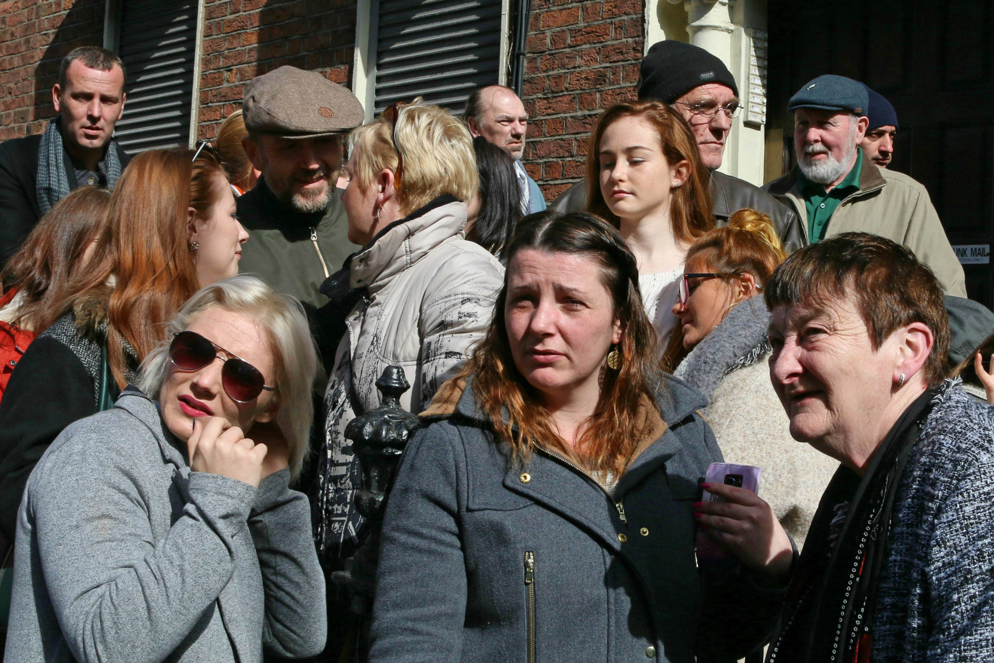 A crowd waits for the parade to pass in Dublin on Easter Sunday during events commemorating the Easter Rising against British rule. (Danielle Houghton/GroundTruth)