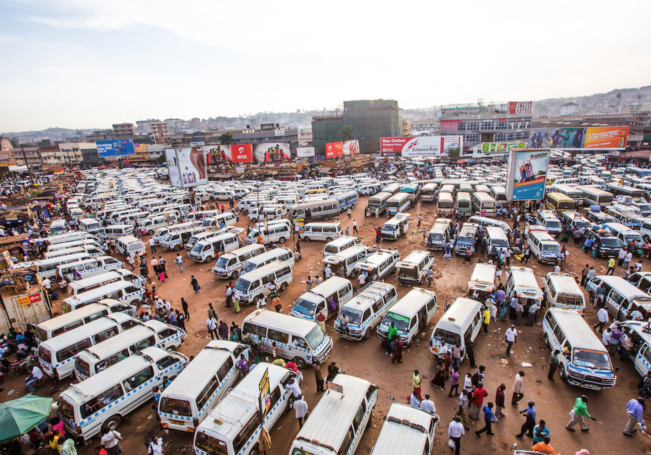 A commercial bus station in Kampala, Uganda. (Tom Saater)