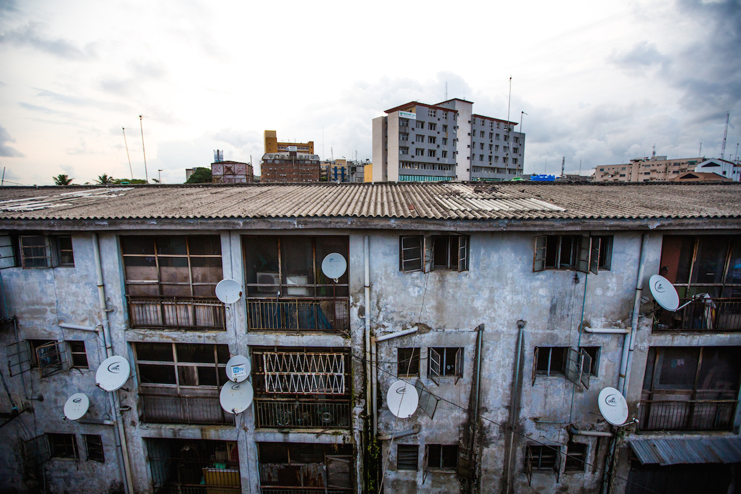 An old low income apartment block in Onikan, Lagos, Nigeria. (Tom Saater)