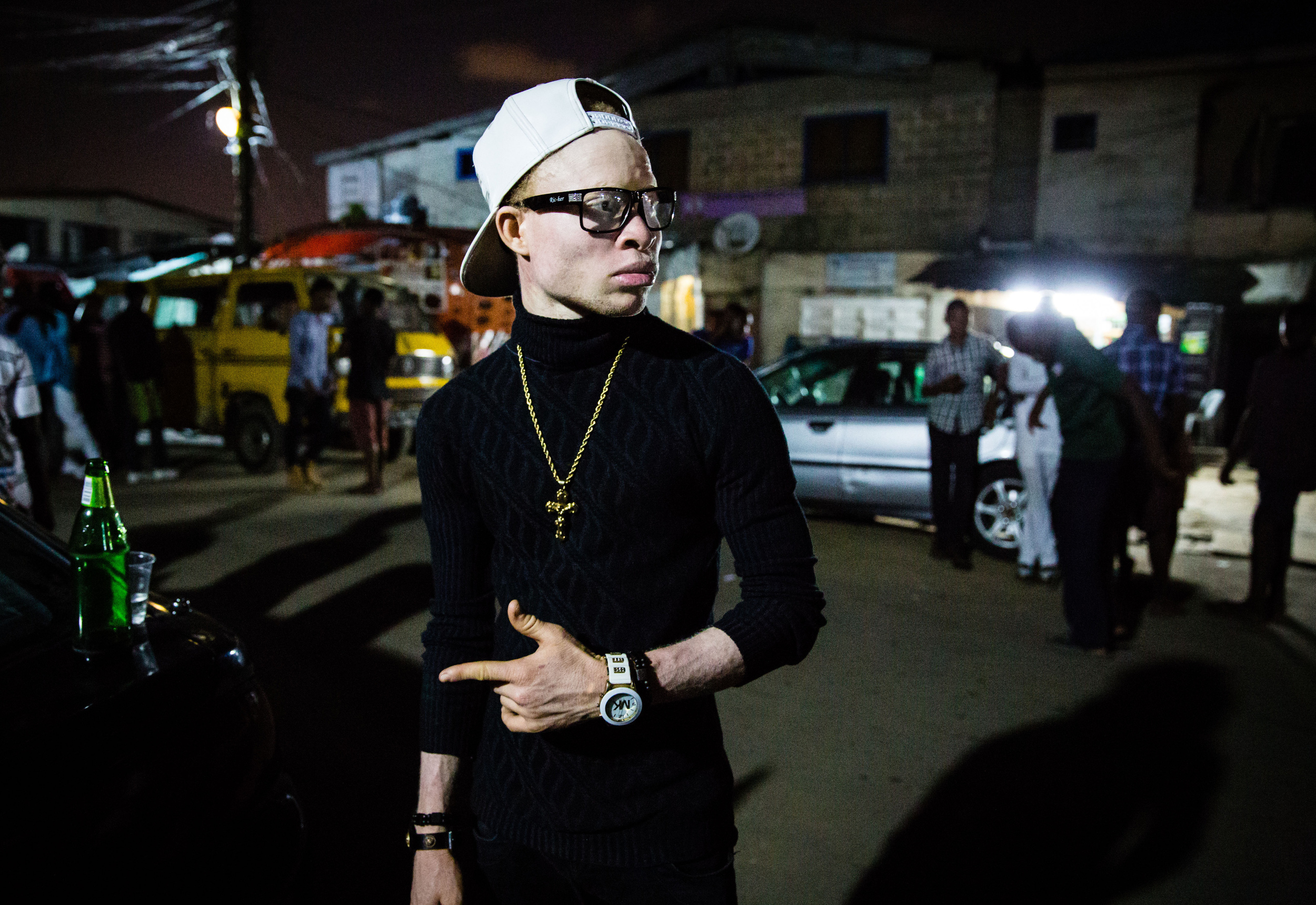 Omotore, 21, is an albino Afro hip-hop artist in Lagos, Nigeria. He is using his music to voice out some of the stereotypes his fellow albinos encounter. (Tom Saater)