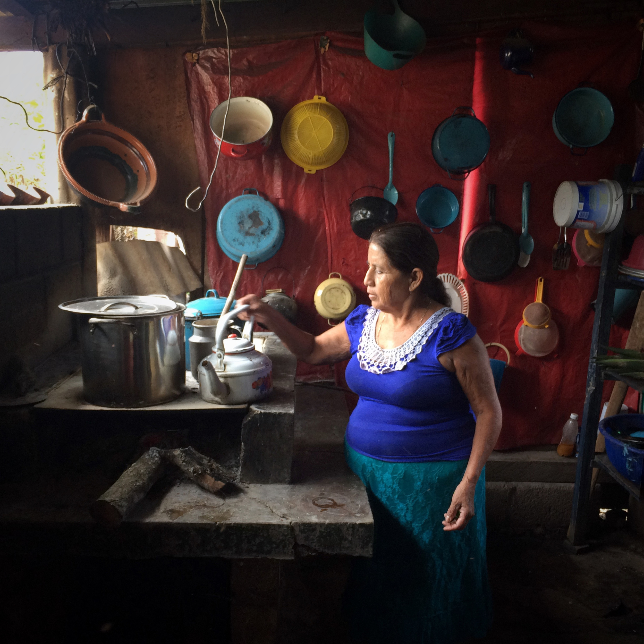 Siria Velazquez Ramirez, 61, pours coffee at home. Montebello Altamirano, Angel Albino Corzo, Chiapas, Mexico. December 9, 2015. (James Rodriguez)
