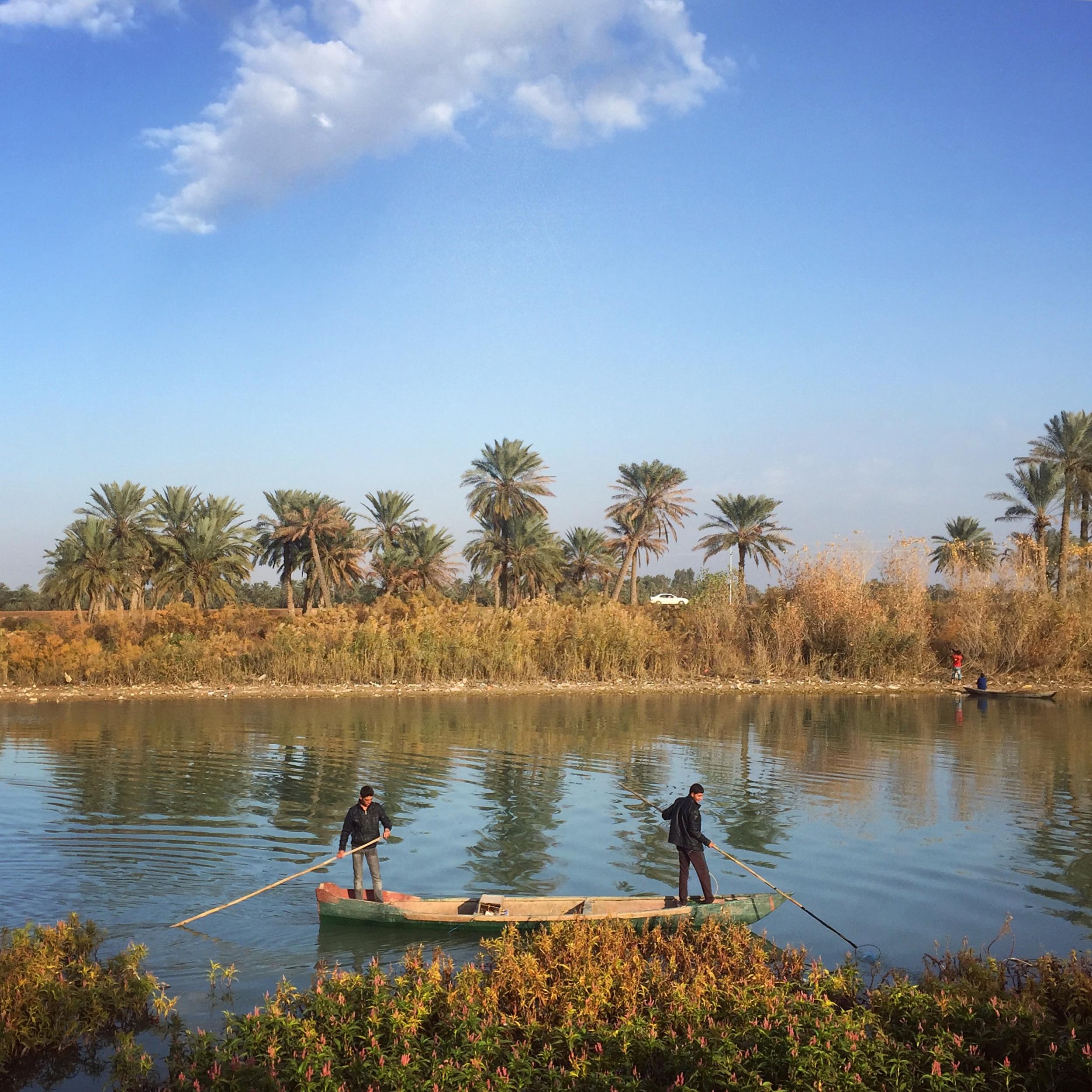 Fishermen in Shatt al- Amarah, one of the Tigris River's branches, go electrofishing with a mini generator in their canoe, in Amarah, Maiysan, Iraq. (Ahmad Mousa)
