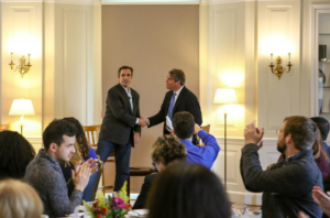 GroundTruth founder Charles Sennott and ABC News correspondent Bob Woodruff at the International House in New York City (Jay Espy/GroundTruth)