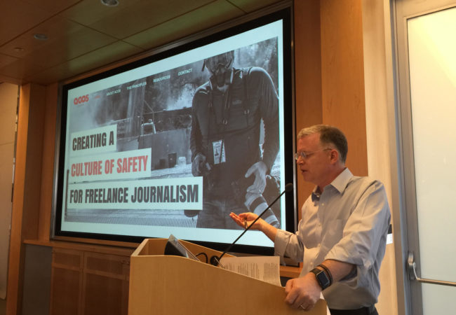 David Rohde, national security investigations editor at Reuters, leads a session at the Foreign Editors Circle meeting hosted by The GroundTruth Project on May 13, 2016. (Charlie Sennott/GroundTruth)
