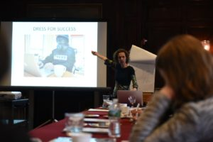 Judith Matloff speaking to a room of young journalists about safety and security during a workshop on World Press Freedom Day. (Edwin Torres/GroundTruth)