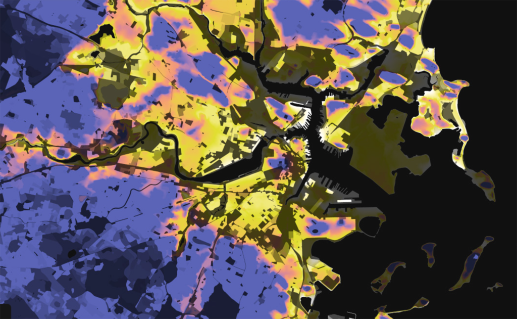Boston, Massachusetts: Elevation And Population Density, 2010