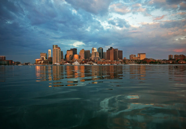 The view from East Boston as the sun rises over the Boston skyline on June 7, 2016. (Photo by Lauren Owens/GroundTruth)