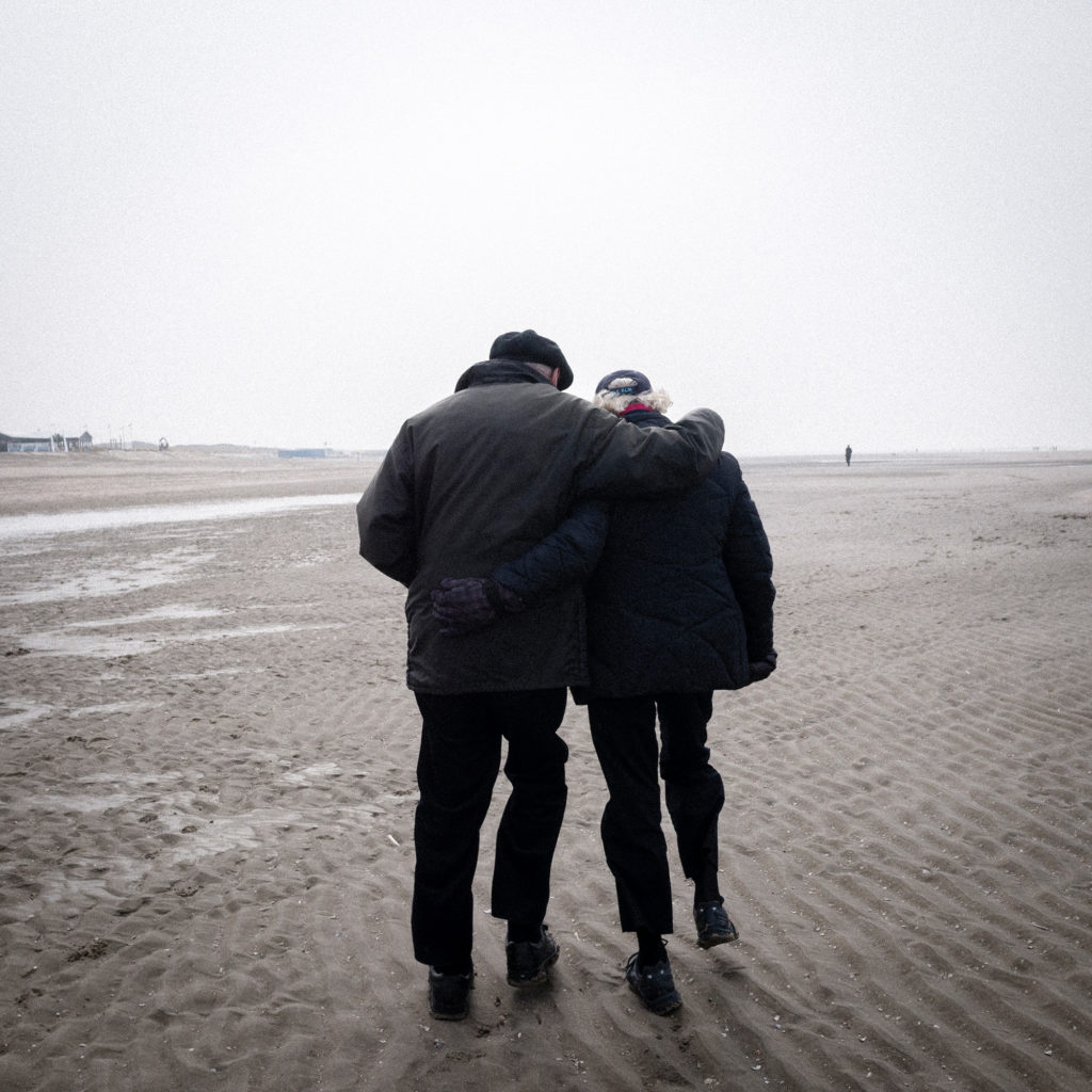"A couple walks near the Zandmotor (""sand engine"") project outside The Hague. (Photo by Joris van Gennip/The GroundTruth Project)"