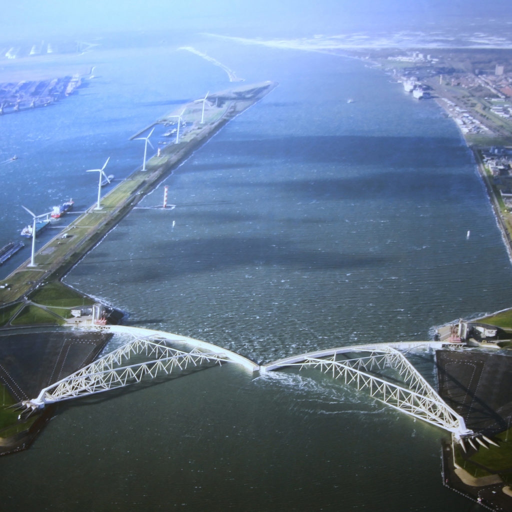 The biggest mobile barrier in the world, the Maeslant storm surge barrier was built to protect the Dutch city of Rotterdam from a one-in-10,000-year storm. It's part of the massive investment the Dutch are making to protect themselves in a new era of rising sea levels. (Photo by Bert Knottenbeld/Flickr Creative Commons)
