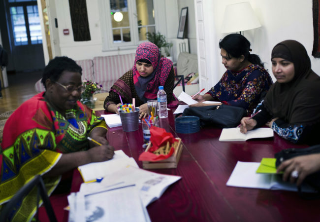 Women from Bangladesh study the Greek language with the help of Melissa Network.