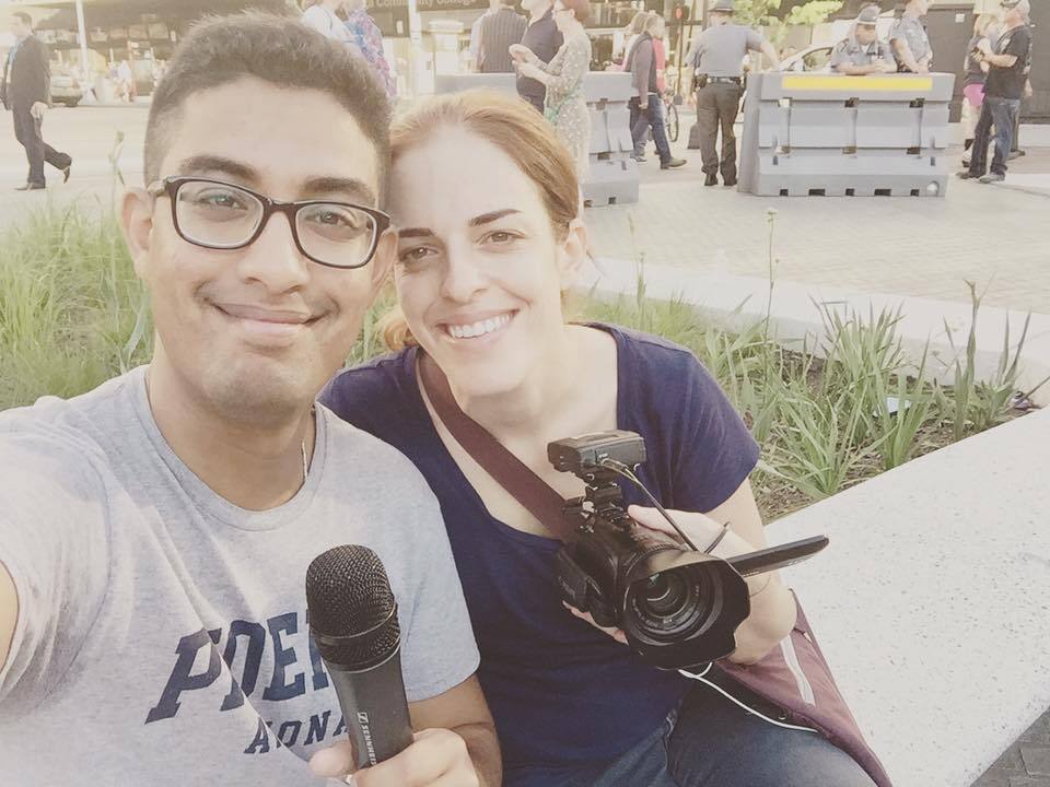 GroundTruth fellows Mohamed Abdelfattah and Jenny Montasir pose for a selfie at the RNC in Cleveland. (Photo by Mohamed Abdelfattah/GroundTruth)