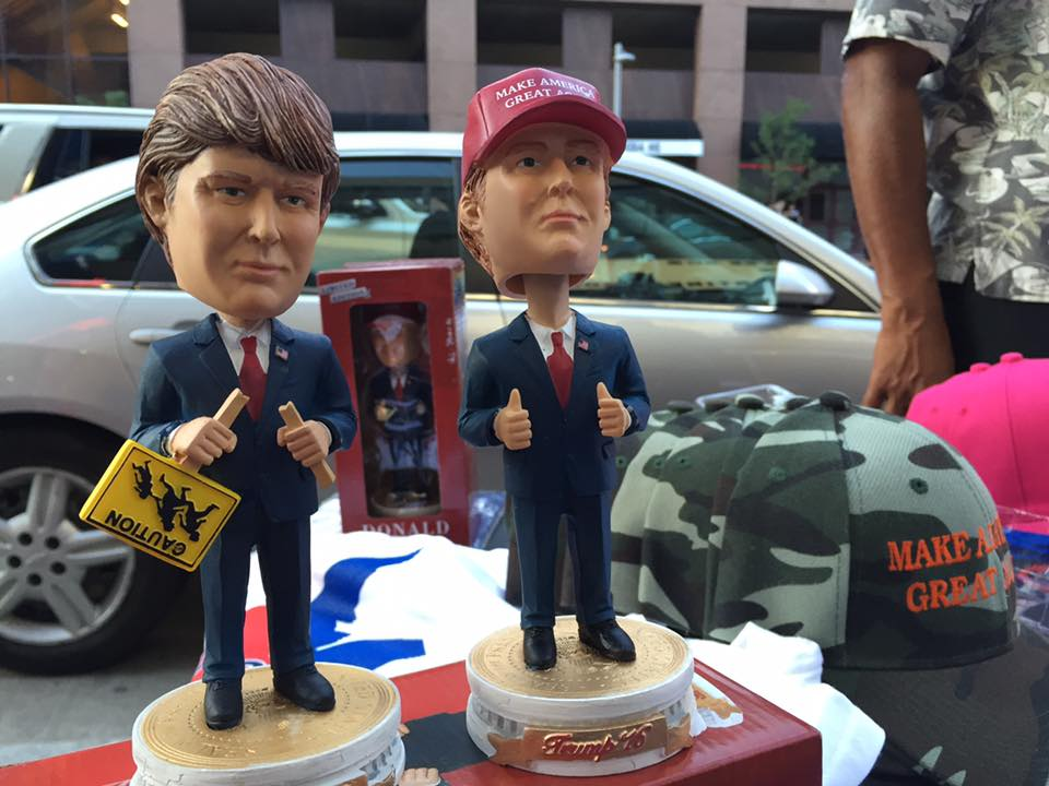 Trump merchandise is sold at kiosks on the streets of Cleveland during the RNC. (Photo by Mohamed Abdelfattah/GroundTruth)