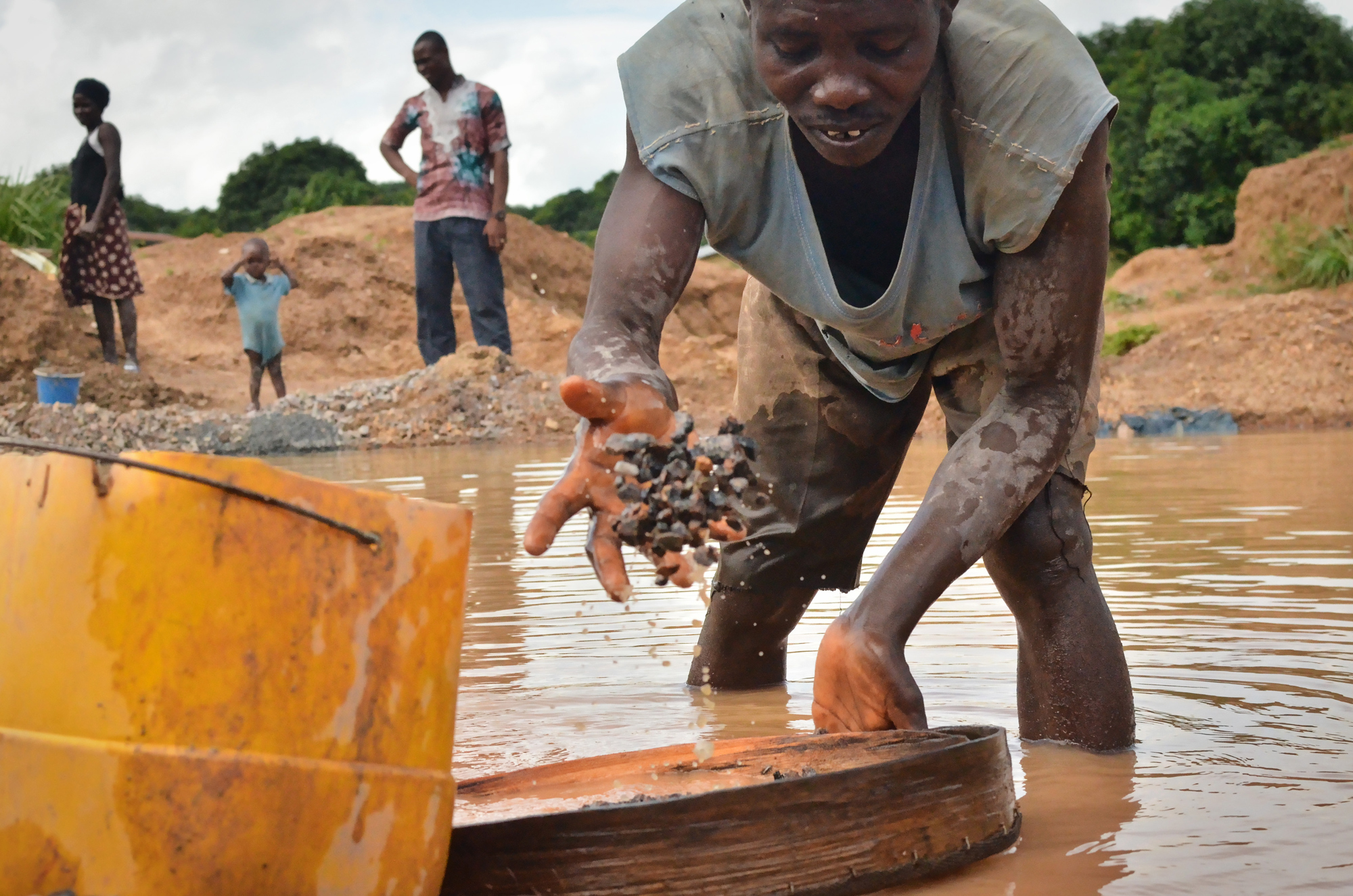 "Moses Bangura is an independent miner in Koidu – called ""artisanal miners"" in Sierra Leone. He says that he found just one diamond this week, and that, in recent years, the number of diamonds found has generally declined."