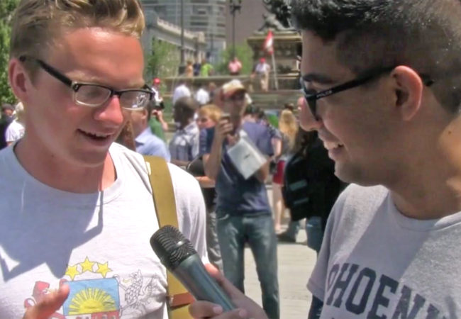 GroundTruth Fellow Mohammed Abdelfattah interviews an attendee of the Republican National Convention in Cleveland, Ohio. (Photo by Jenny Montasir/GroundTruth)