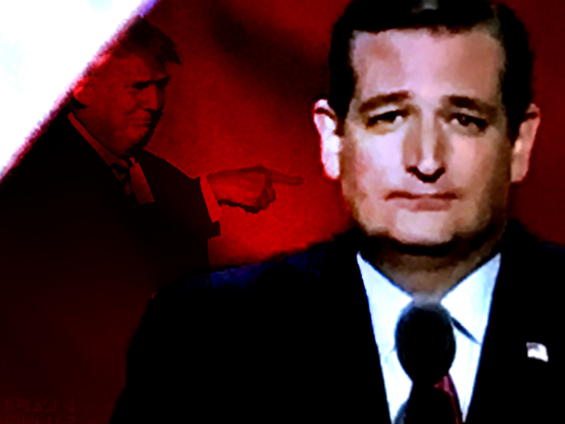 A digital composite image of Ted Cruz and Donald Trump at the RNC. (Composite image by Biz Herman/GroundTruth)