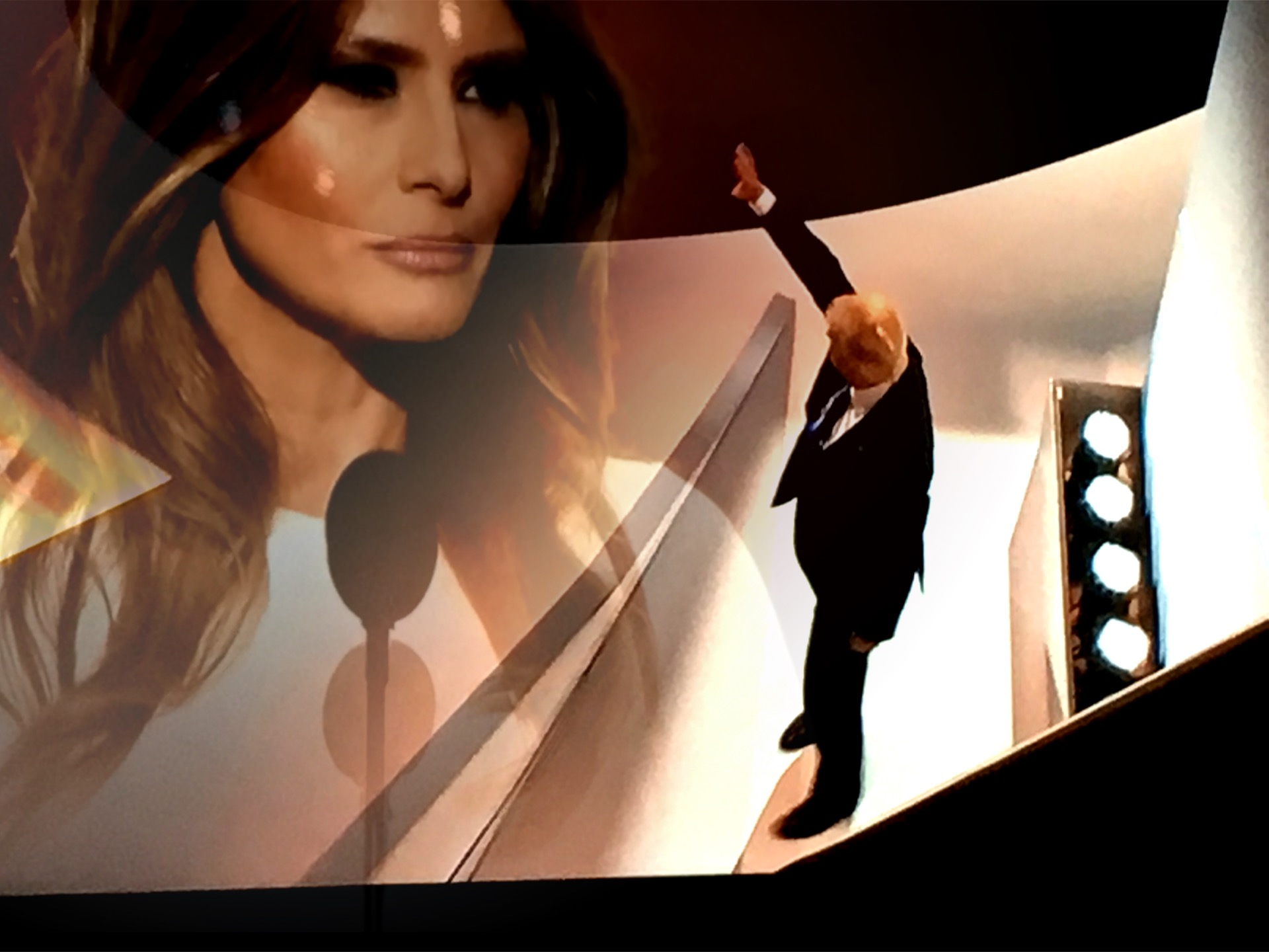 Melania Trump during her speech, and Donald Trump after Melania's speech at the RNC. (Composite image by Biz Herman/GroundTruth)