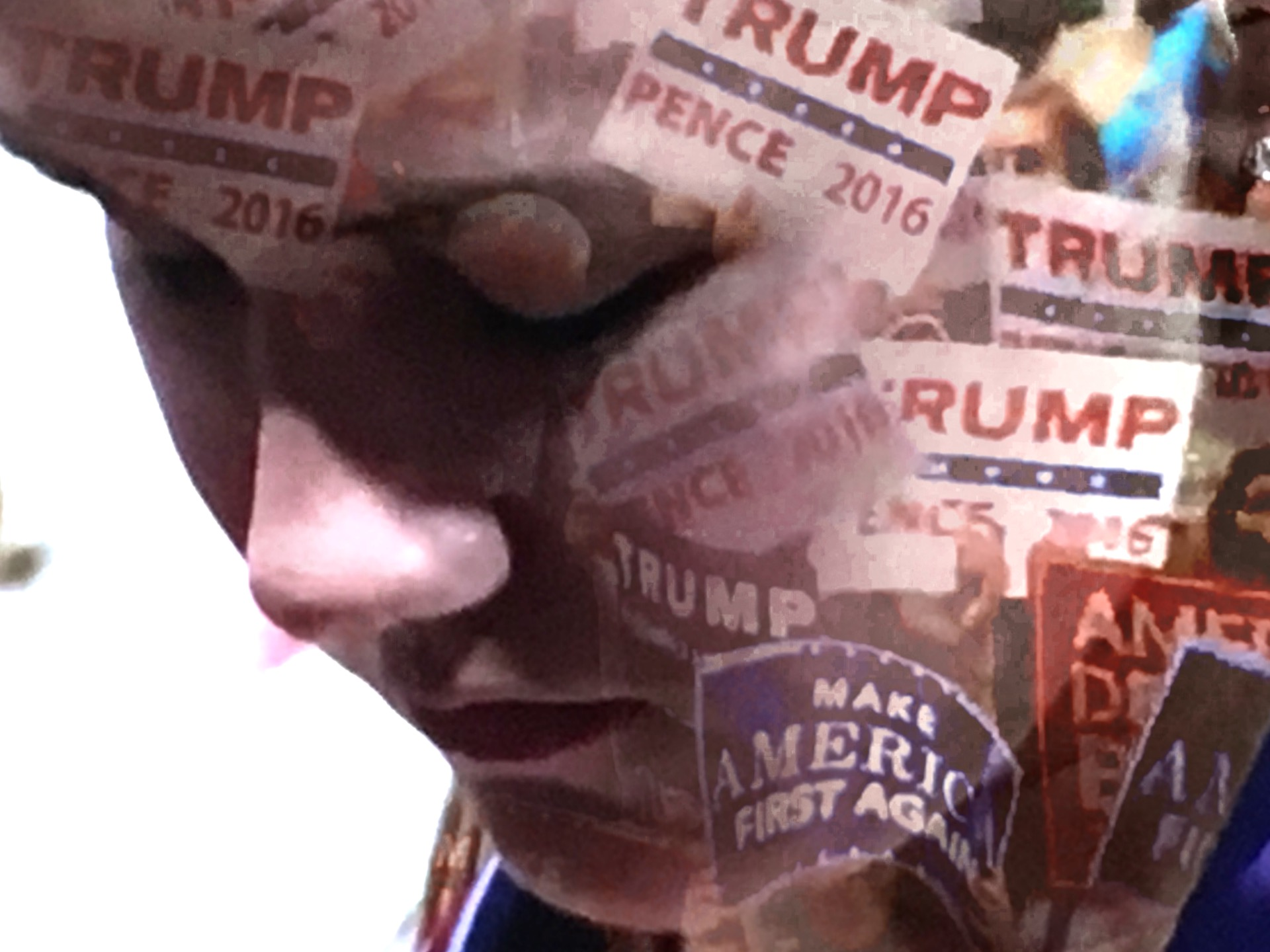 An attendee at the RNC prays. (Composite image by Biz Herman/GroundTruth)
