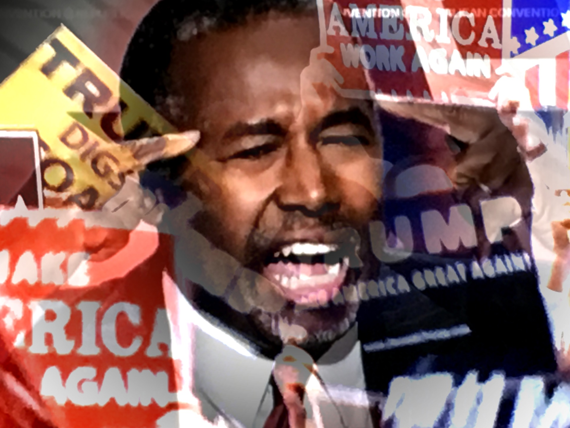 Ben Carson addresses the RNC. (Composite image by Biz Herman/GroundTruth)