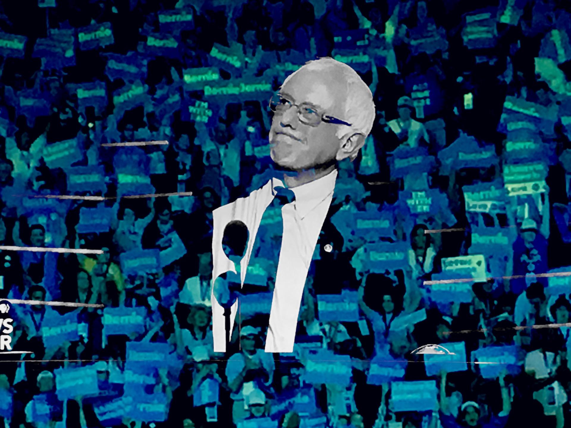 Bernie Sanders addresses the DNC. (Composite image by Biz Herman/GroundTruth)