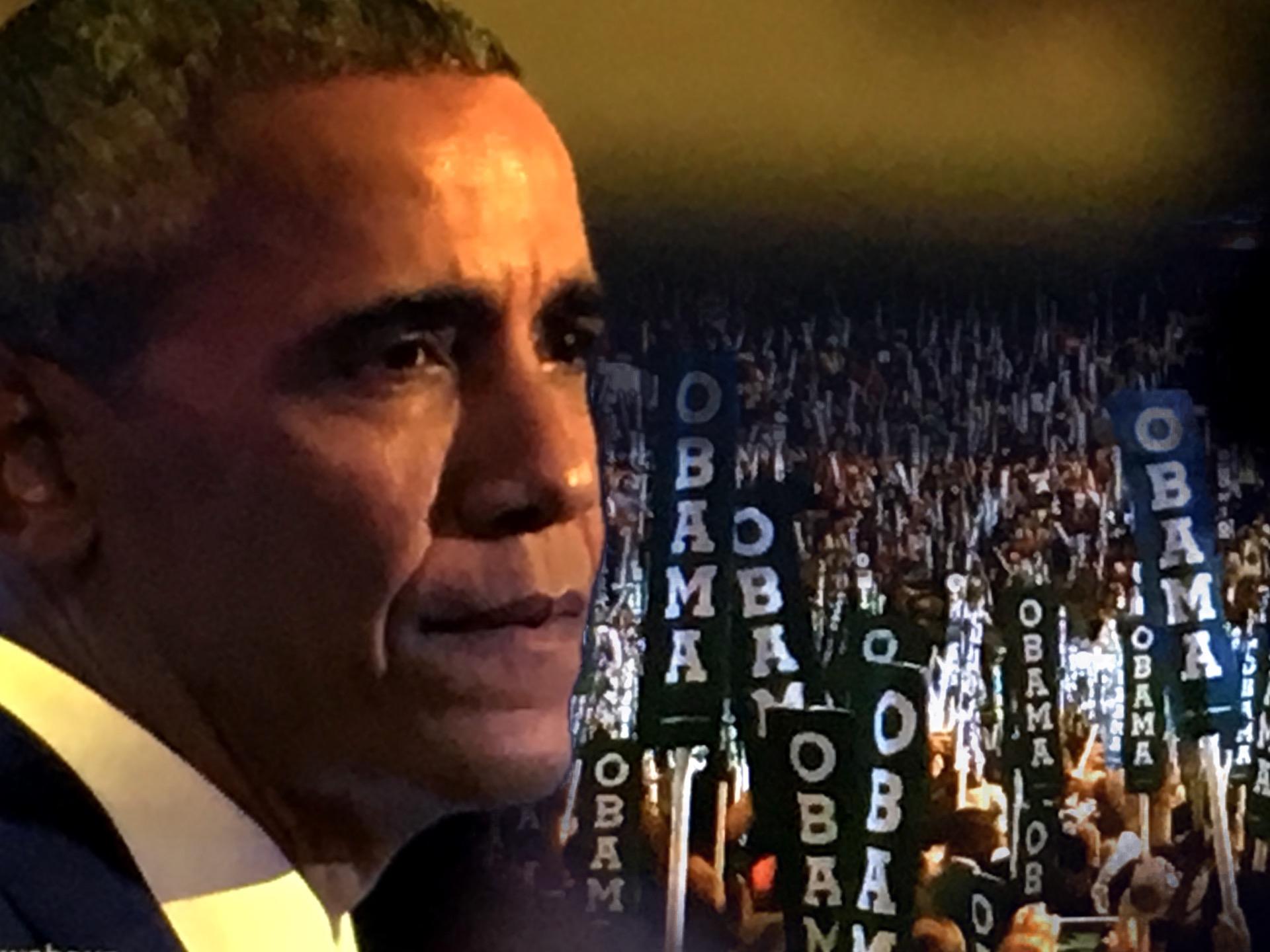President Barack Obama addresses the DNC. (Composite image by Biz Herman/GroundTruth)