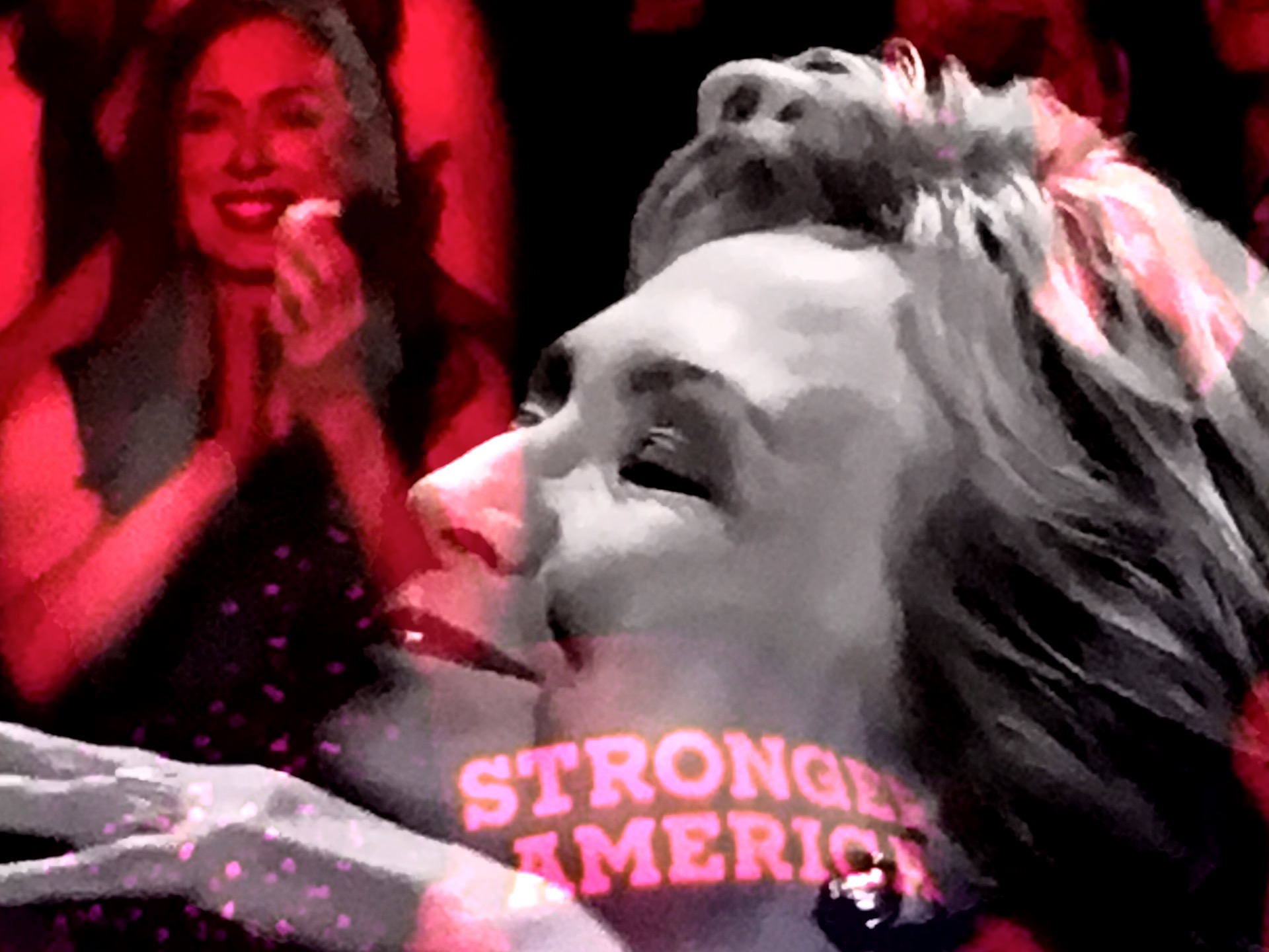 Chelsea Clinton and Hillary Clinton at the DNC. (Composite image by Biz Herman/GroundTruth)