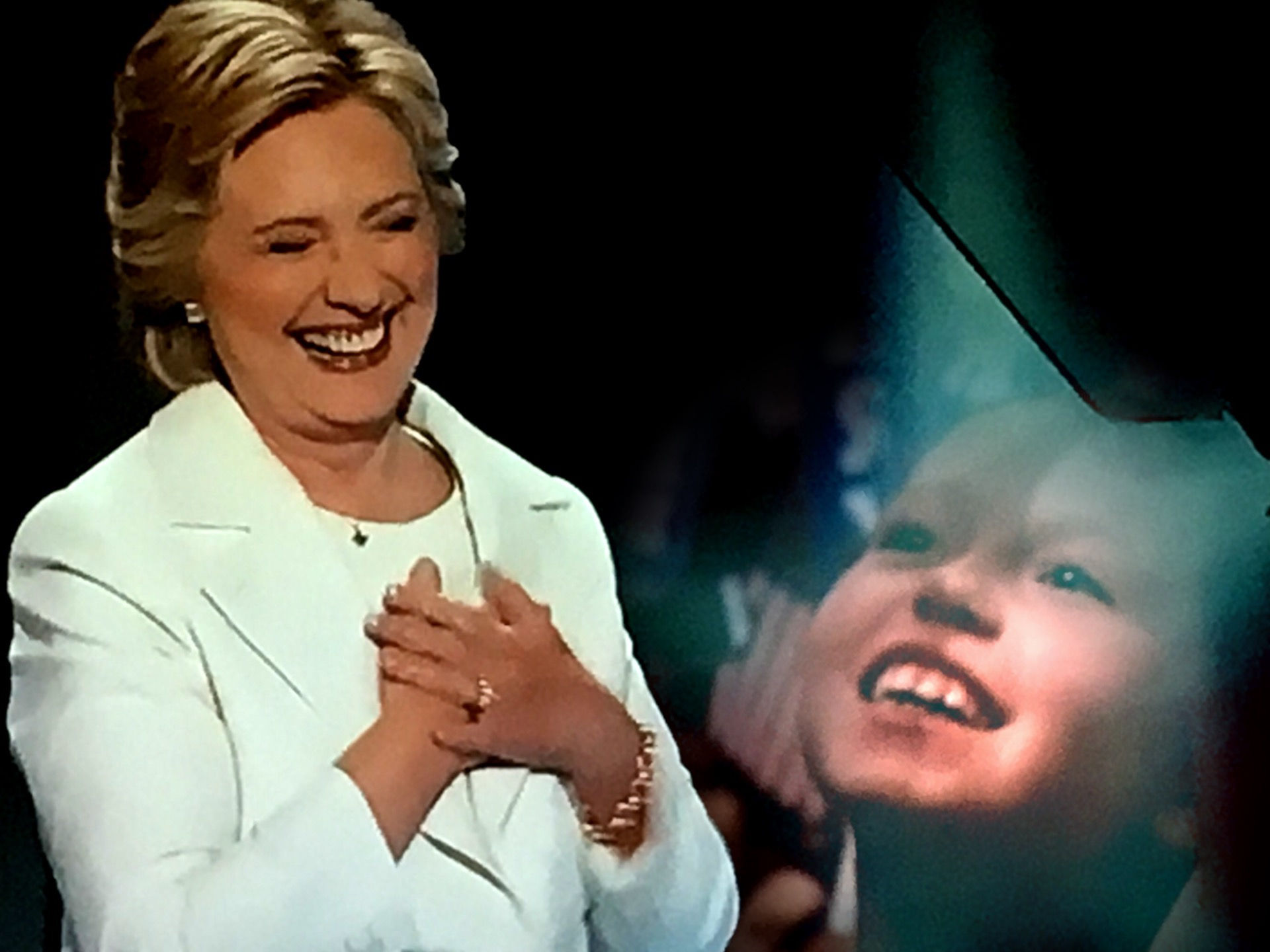 A young girl in the audience watches as Hillary Clinton formally accepts the Democratic Party's nomination for president. (Composite image by Biz Herman/GroundTruth)