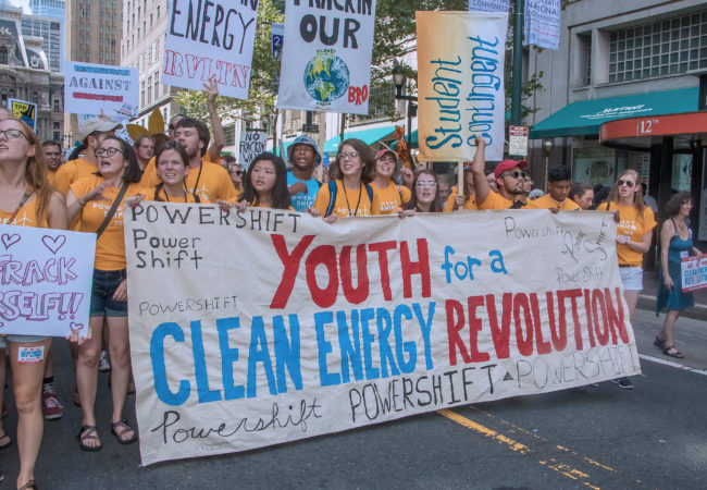 Young adults advocating for clean energy at the Democratic National Convention in Philadephia. (Photo by Bob Simpson/Flickr)