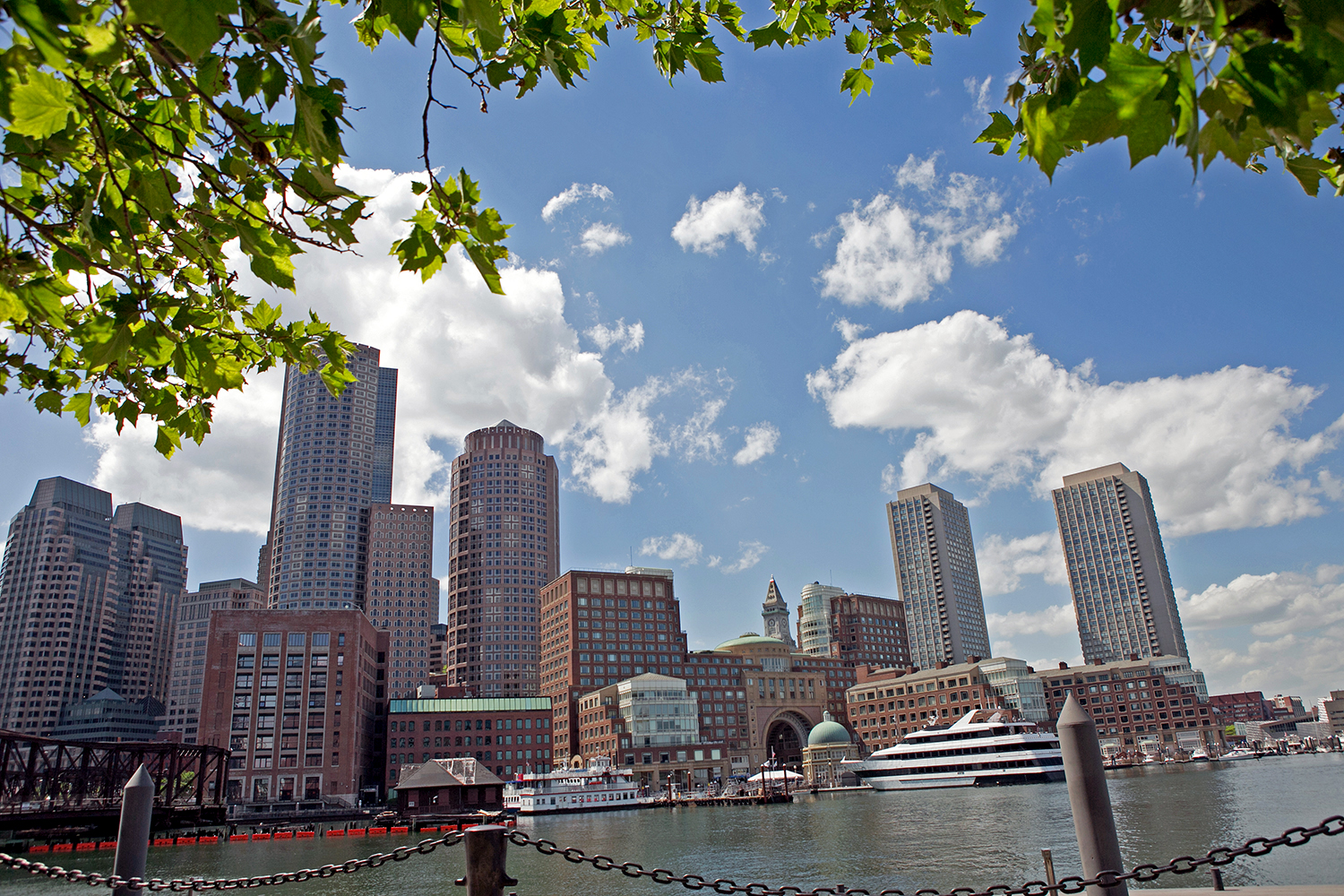 The Boston skyline is seen from across the Fort Point Channel on June 6, 2016. (Photo by Lauren Owens Lambert/GroundTruth)