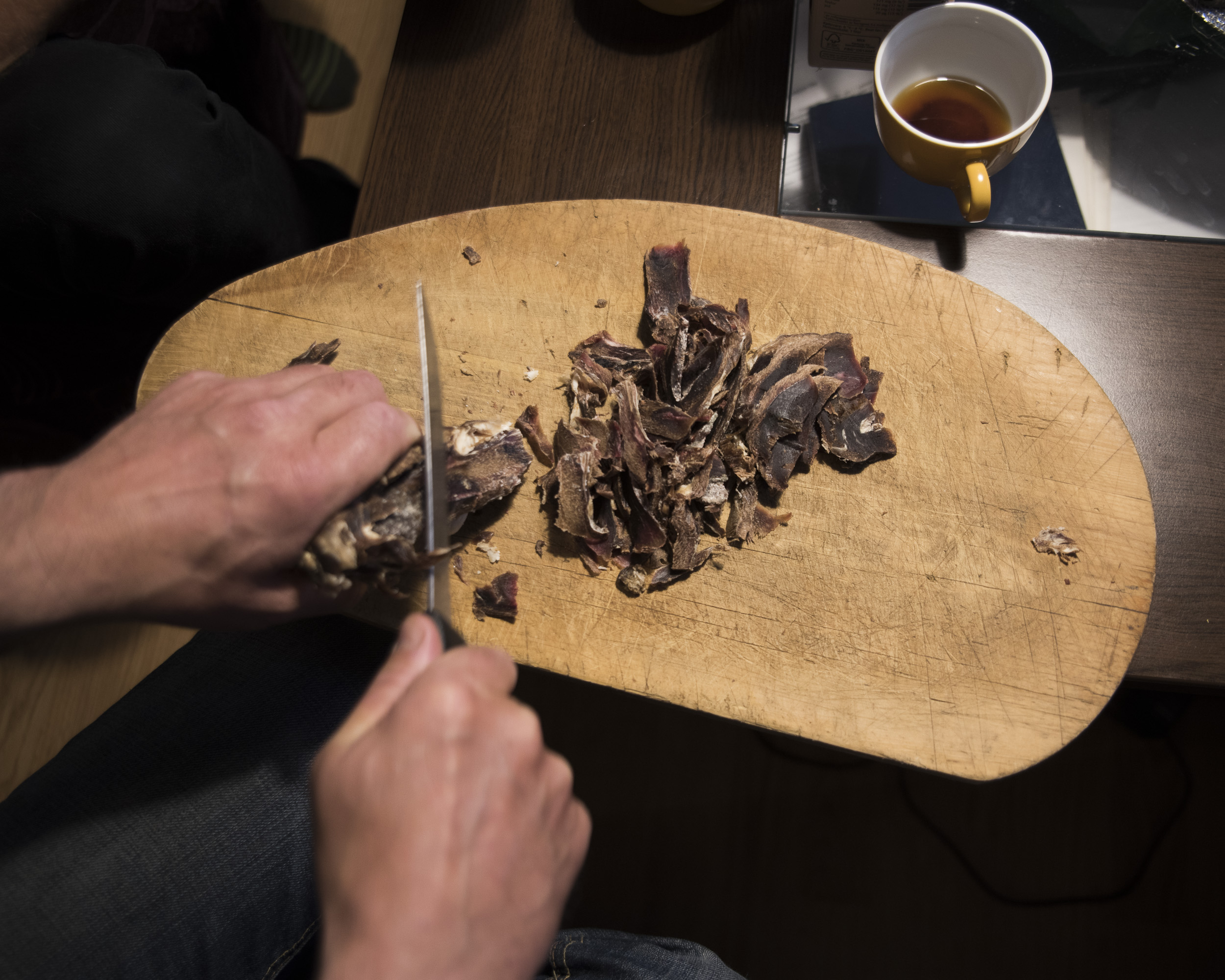 Goikebiergu, or freeze-dried reindeer jerky, is a Sami spring and summer snack. ( Camilla Anderson/GroundTruth)