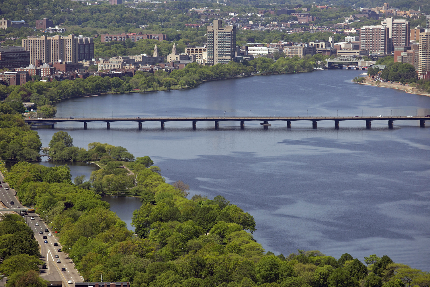Bridges connect Boston (left) with Cambridge (right) over the Charles River. (Photo by Lauren Owens Lambert/GroundTruth)