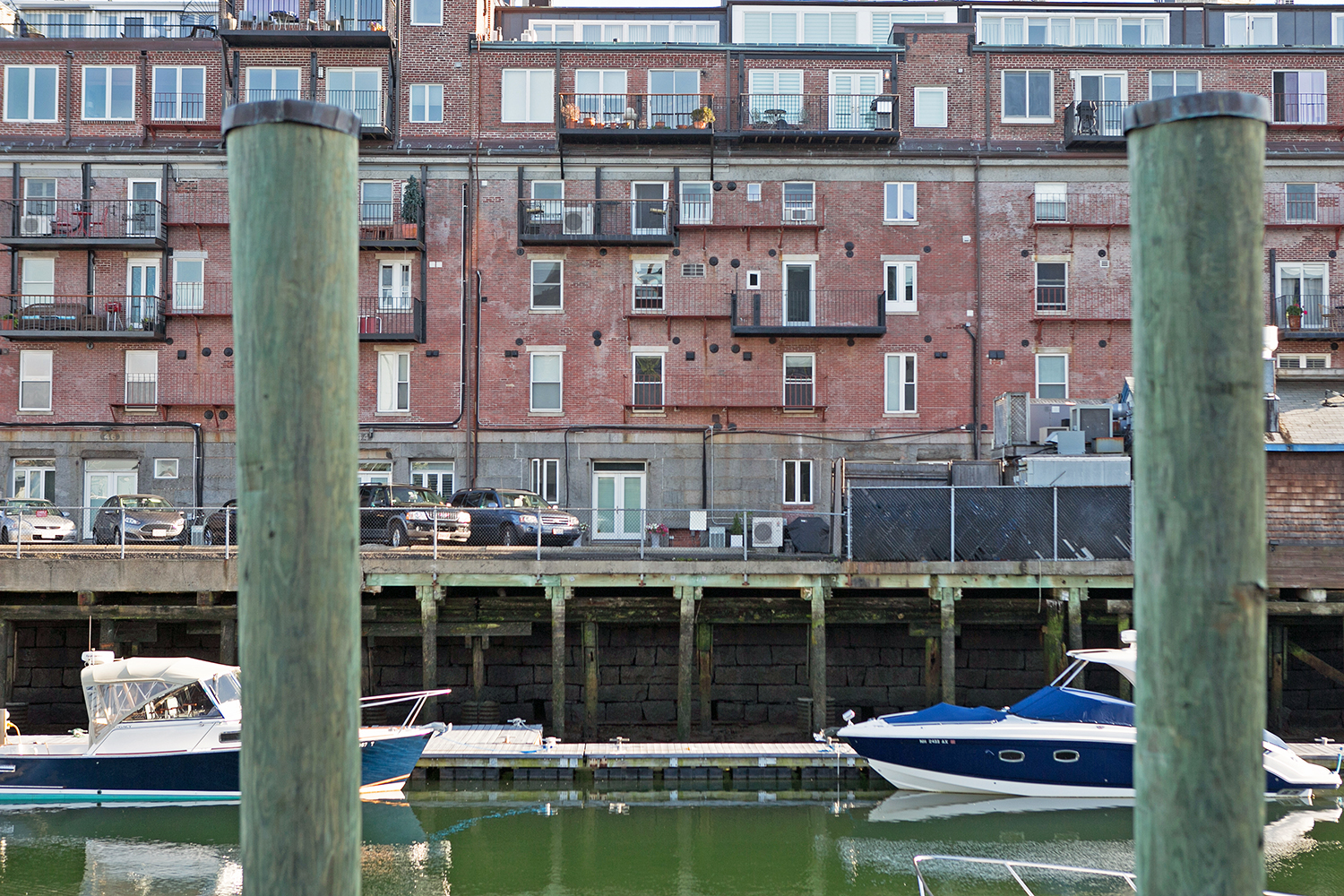 Condos built on a wharf are pictured in Boston's North End, June 6, 2016. (Photo by Lauren Owens Lambert/GroundTruth)