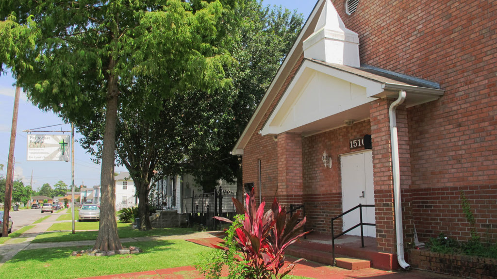 The Pentecost Baptist Church was destroyed by flooding during Hurricane Katrina. The church was rebuilt by Reverend Lionel Davis and now stands as a testament to the resilience of this New Orleans community. (Carolyn Holtzman/GroundTruth)
