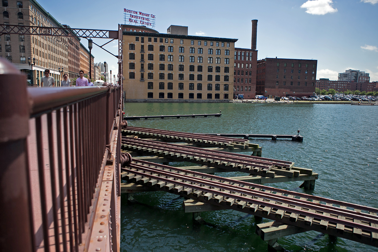 A view across the Fort Point Channel of the proposed General Electric building site, in the Boston's Seaport District, June 6, 2016. (Photo by Lauren Owens Lambert/GroundTruth)
