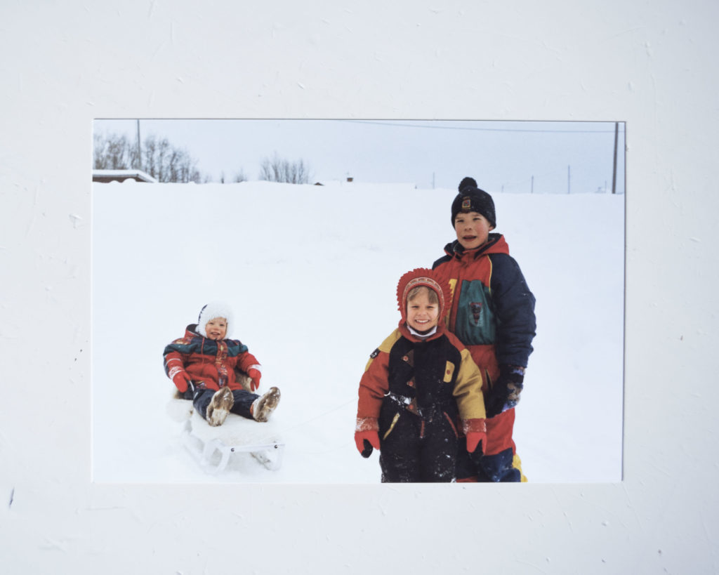 Childhood memories from the Marainen family album. Heaika (left), Sire (middle) and Gusto (right) out playing in the snow during winter.