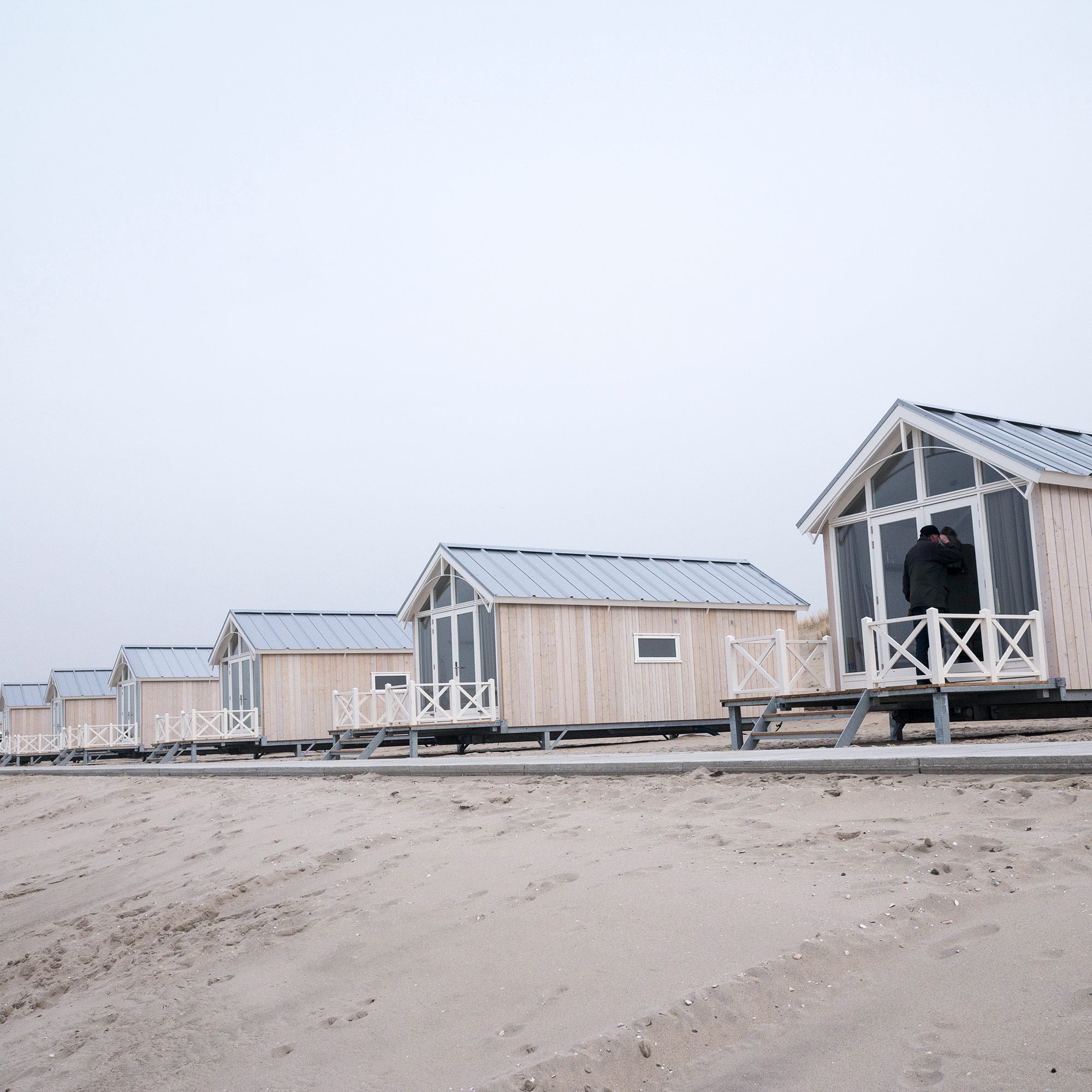 Because of the Zandmoter, there are hopes for more beach tourism. There is space between these new beach houses so the sand can flow naturally towards the dunes, creating a natural defense barrier against the water. (Photo by Joris van Gennip/GroundTruth)